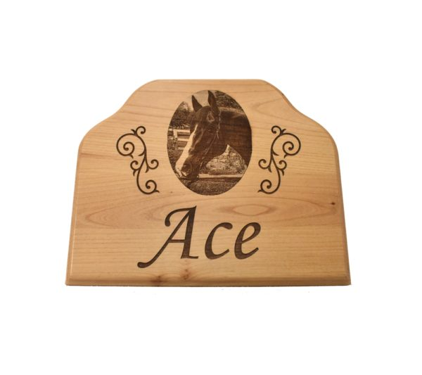 Horse stall name plaque.