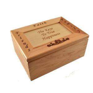 Personalized wooden keepsake box.