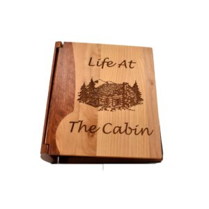 Personalized wooden photo album cover.