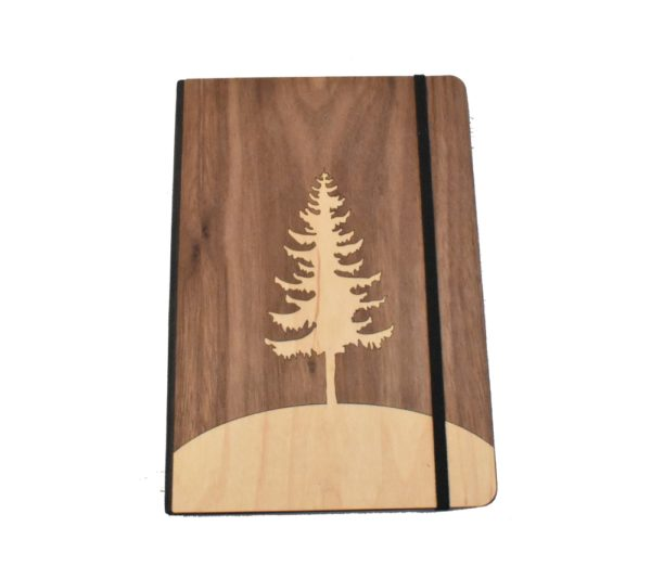 Tree engraved wooden notebook.