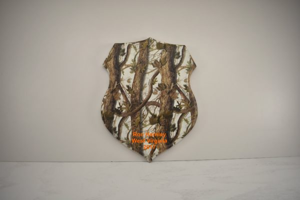 Shield taxidermy plaque with snow blind camo print.