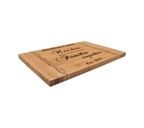 Engraved bamboo cutting board.