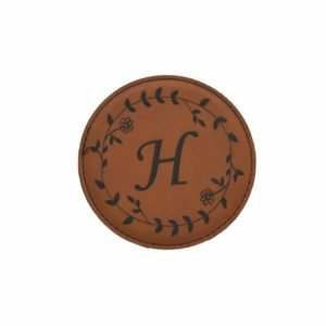 Engraved leather coaster.