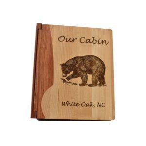 Personalized wooden photo album.