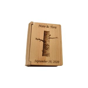 Personalized three ring wooden photo album.