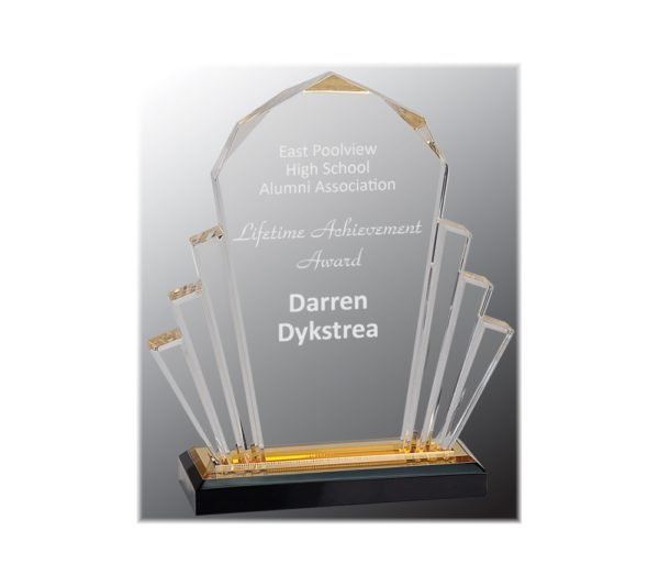 Faceted Impress acrylic award with gold highlights.