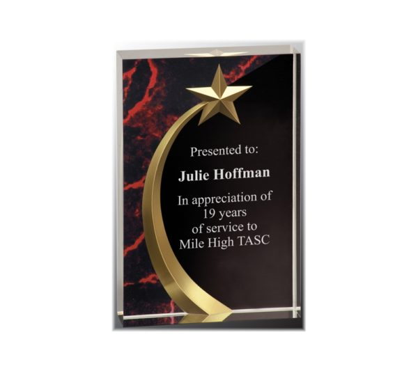 Shooting star on a rectangular acrylic square award with a red marble background.