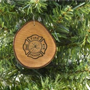 Firefighter Rustic Wood Ornament