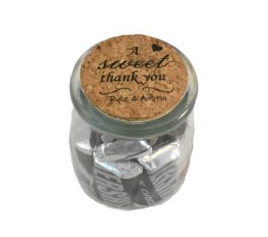 Sweet Thank You Engraved Wedding Favor Jar with Cork Lid