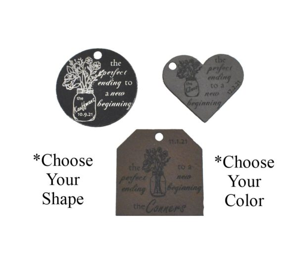 Perfect Ending Leather Wedding Favor Tags